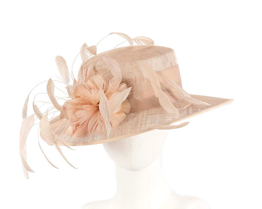 Nude Ladies Fashion Racing Hat with feathers by Cupids Millinery