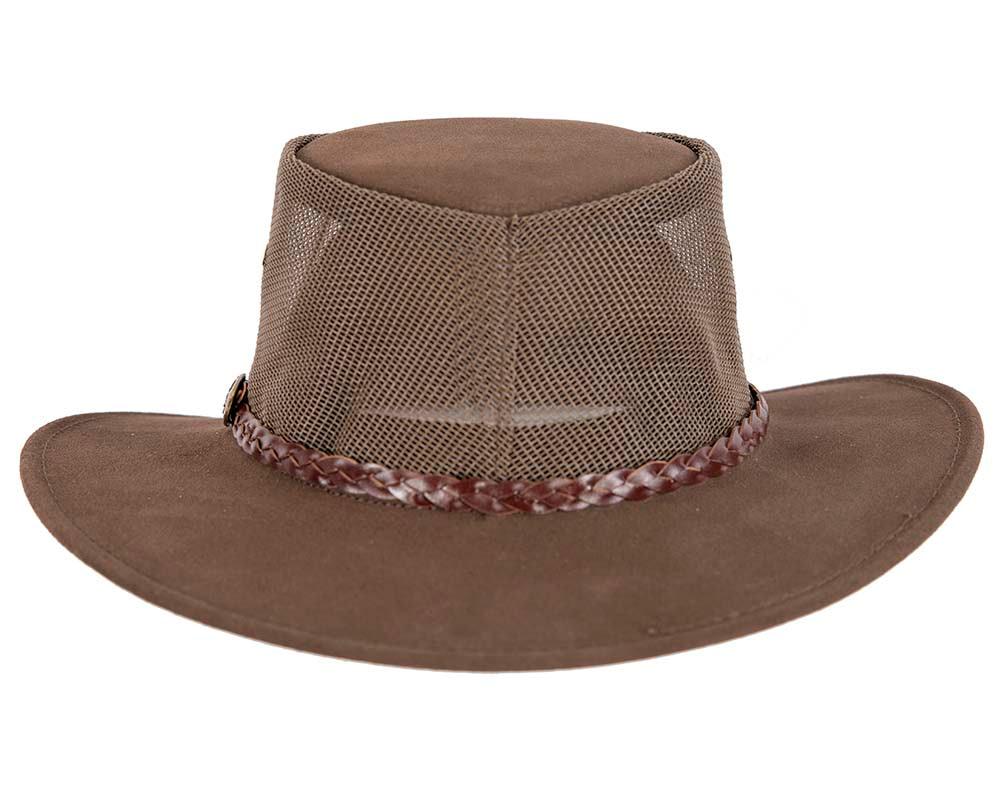 Brown Australian Suede Leather Cooler Jacaru Hat