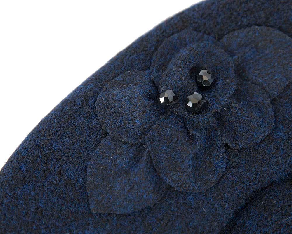 European made woven navy beret