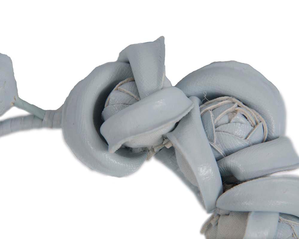 Light blue leather flowers headband by Max Alexander