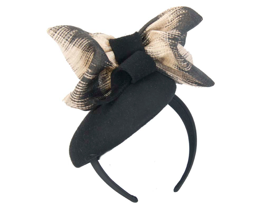 Black cream winter felt pillbox with bow for races buy online in Australia F571B