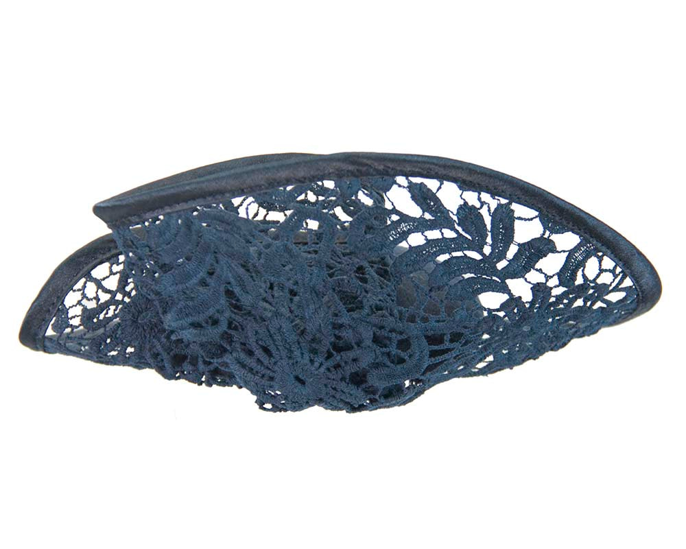 Navy lace autumn winter racing fascinator