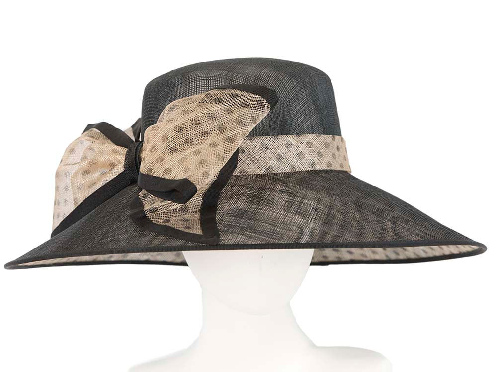 Black & nude racing hat by Cupids Millinery Melbourne