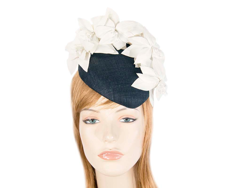 Navy & cream pillbox with leather flowers by Fillies Collection