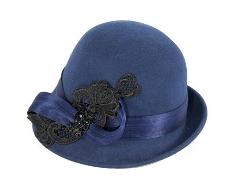 Navy cloche hat with lace trim