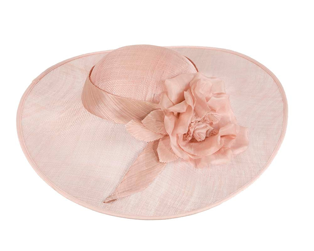 Wide brim pink designers hat by Cupids Millinery Melbourne