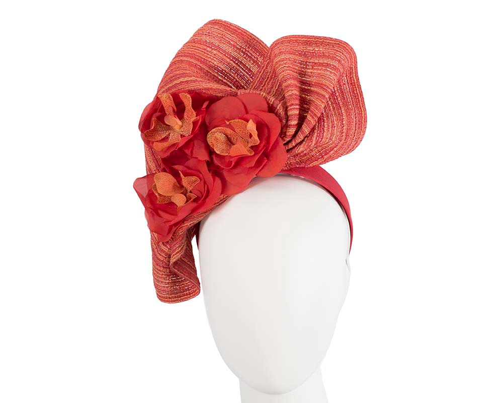 Exclusive large red fascinator with flowers