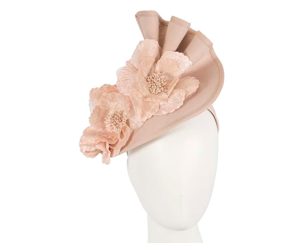 Large nude felt flower fascinator F591NU
