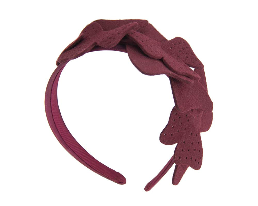 Petite burgundy felt fascinator by Max Alexander