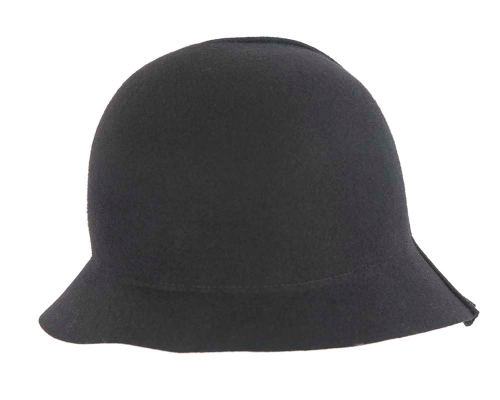 Black winter fashion bucket hat by Cupids Millinery
