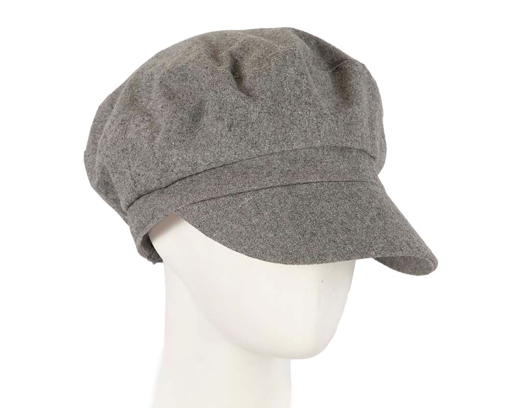 Grey ladies casual newsboy cap hat