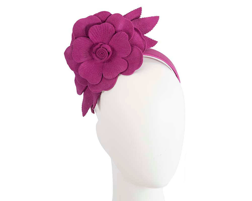 Fuchsia felt flower fascinator by Max Alexander