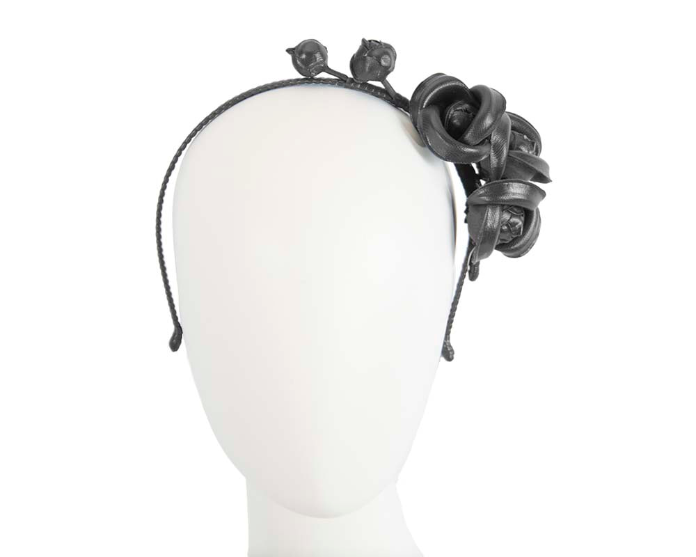 Black leather flowers headband by Max Alexander