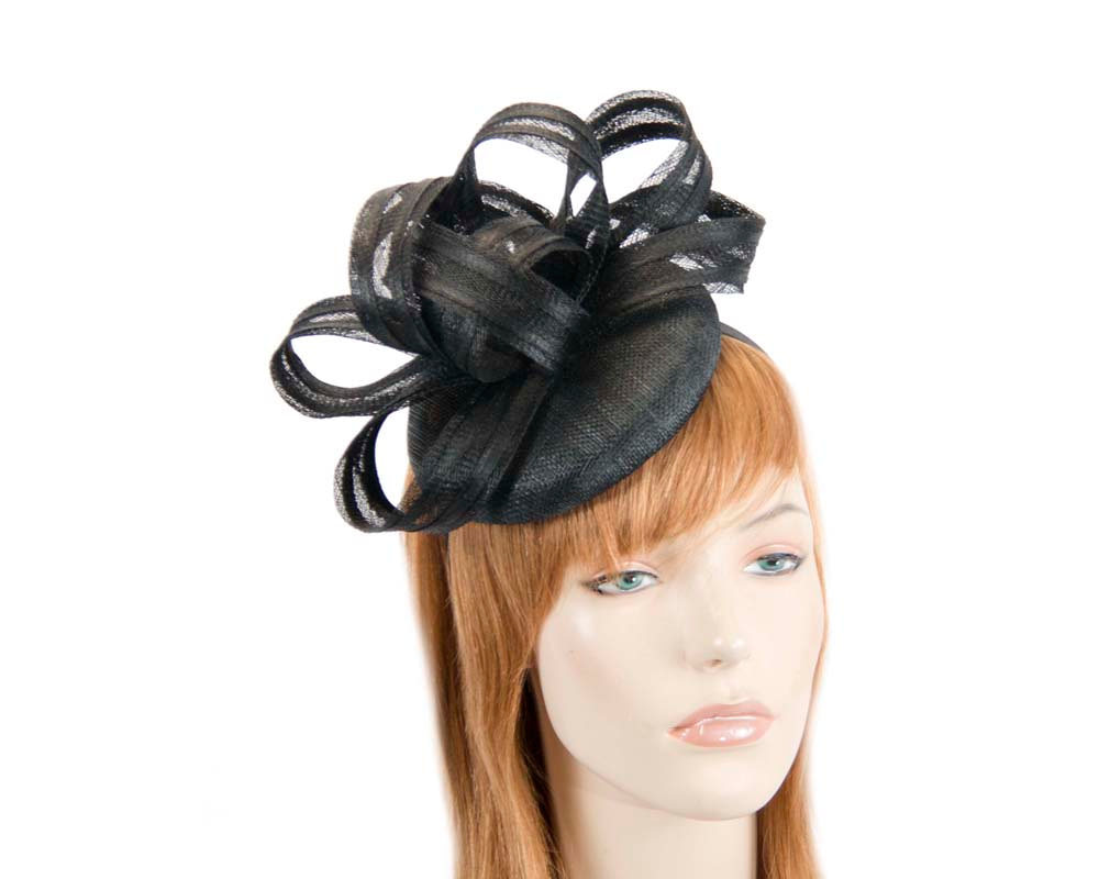 Black racing fascinator with loops by Max Alexander