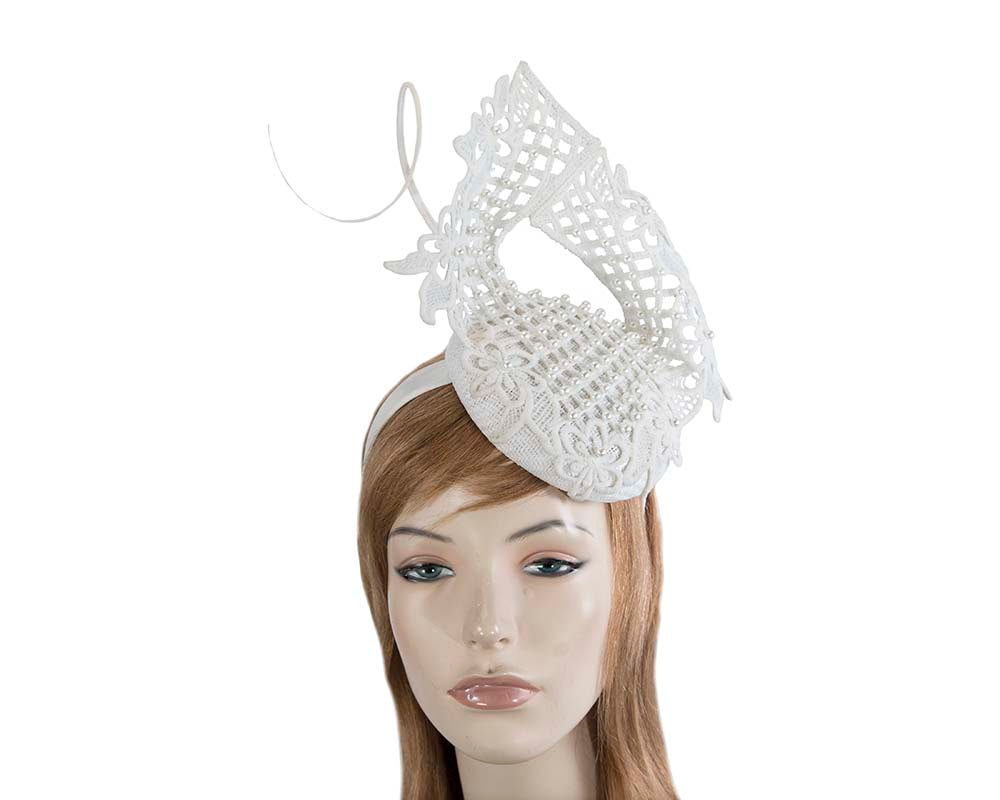 Ivory racing fascinator with beaded lace by Fillies Collection