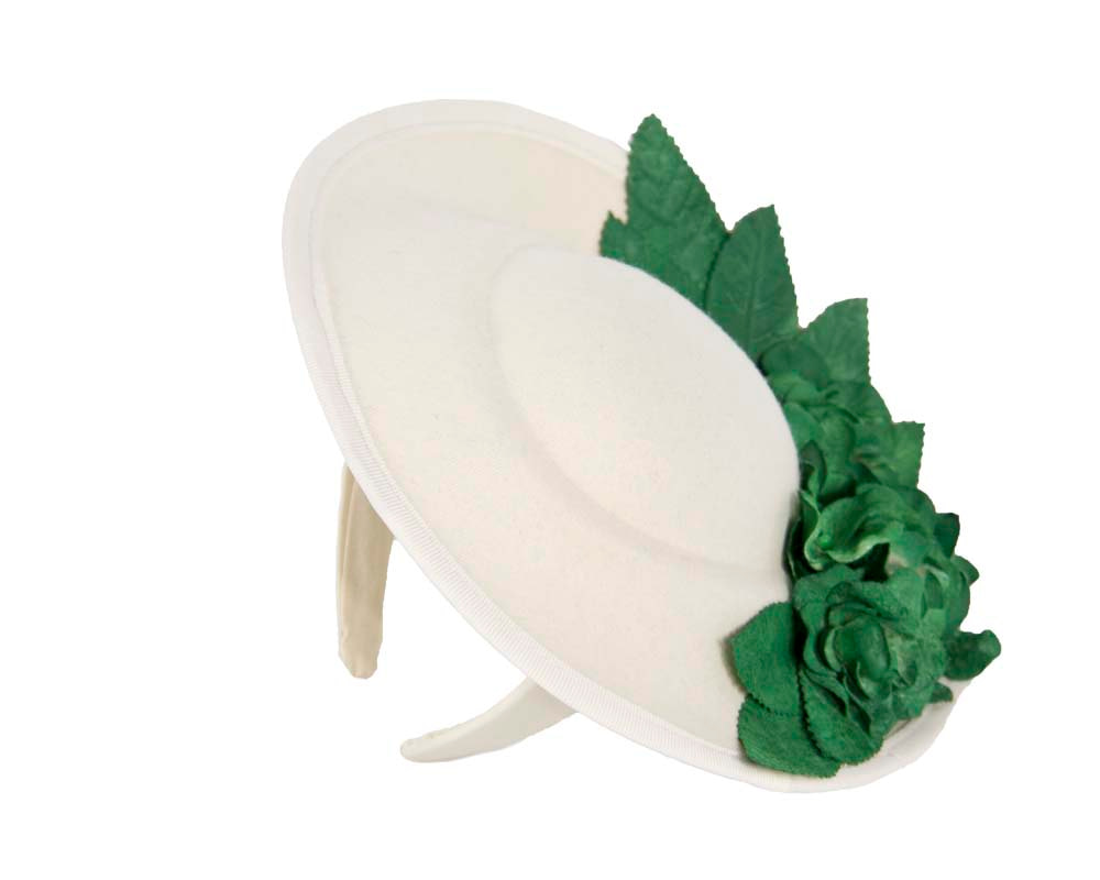 Large cream & green winter racing fascinator with flowers