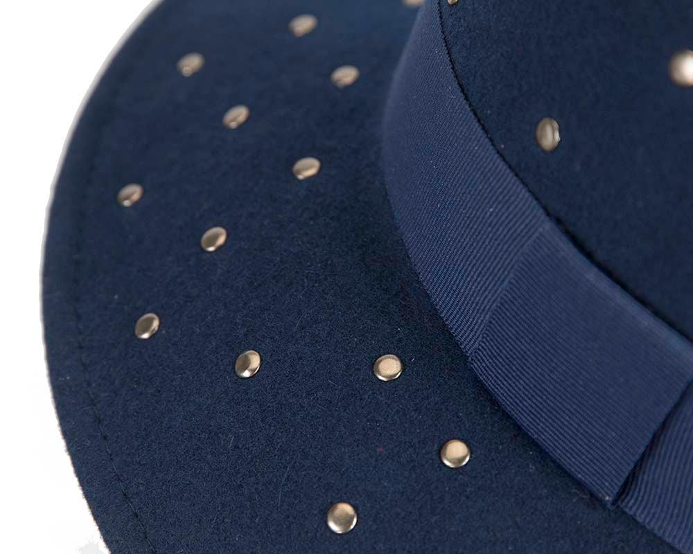 Exclusive wide brim navy fedora felt hat by Max Alexander