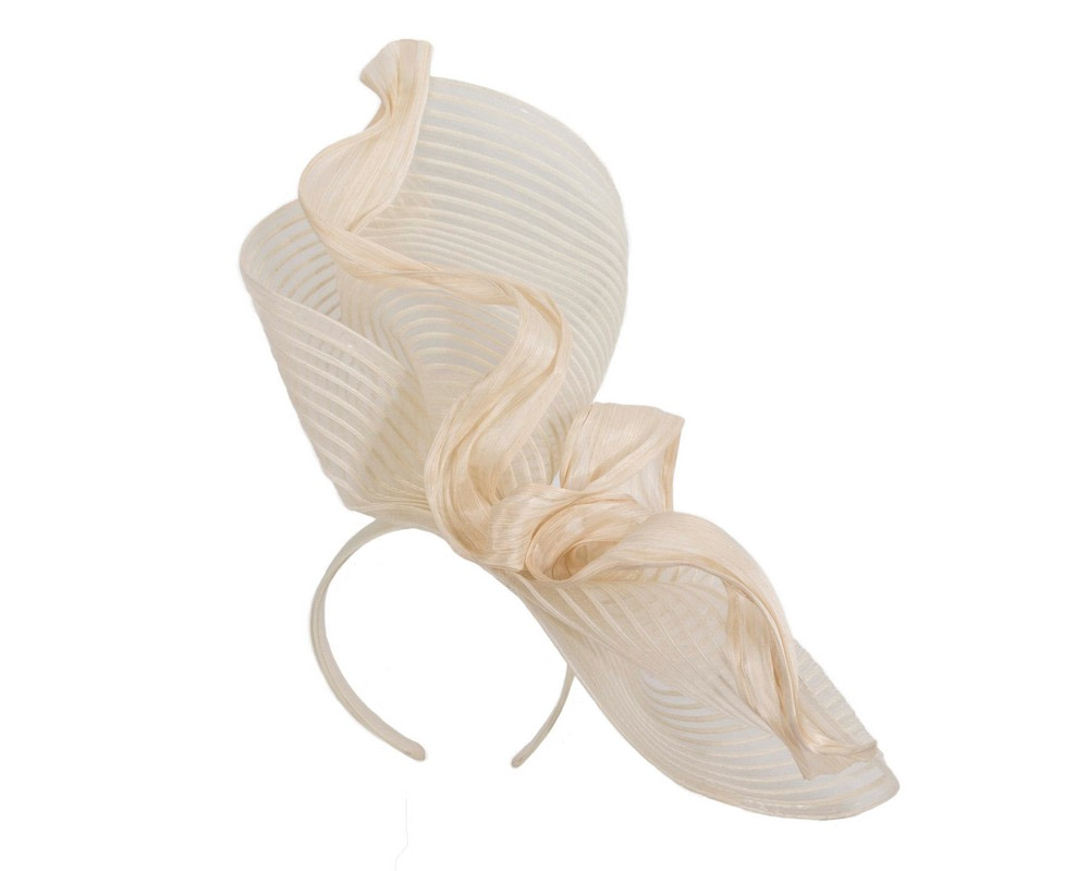 Tall cream bespoke racing fascinator by Fillies Collection