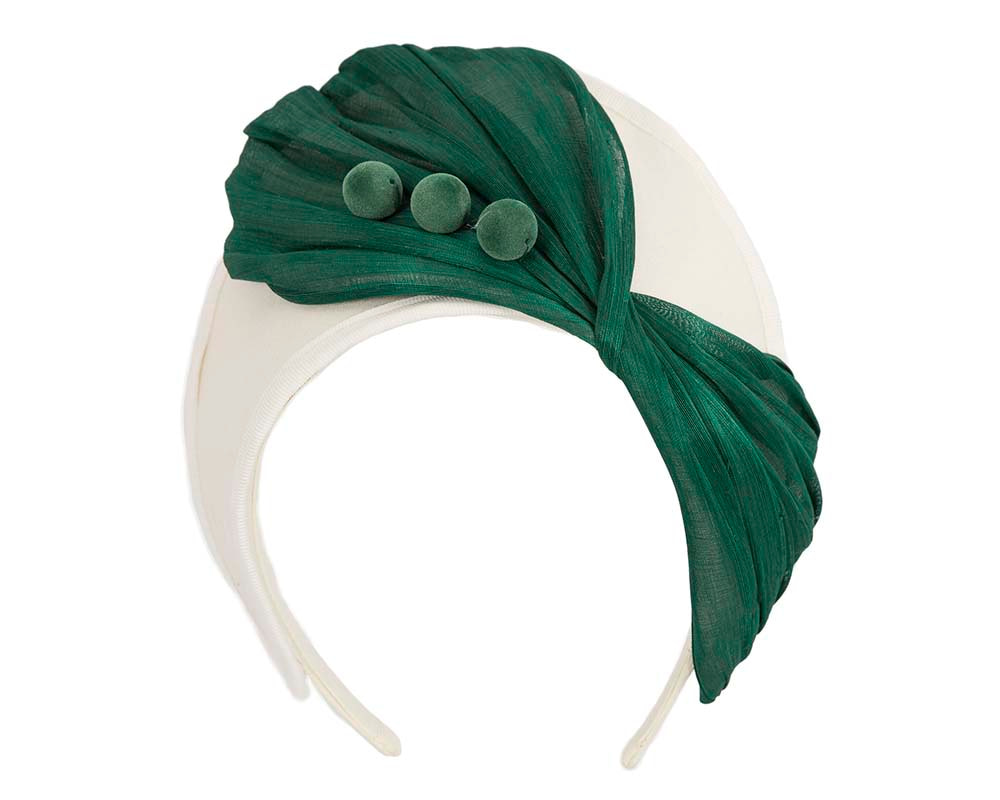 Cream & green crown winter fascinator by Fillies Collection