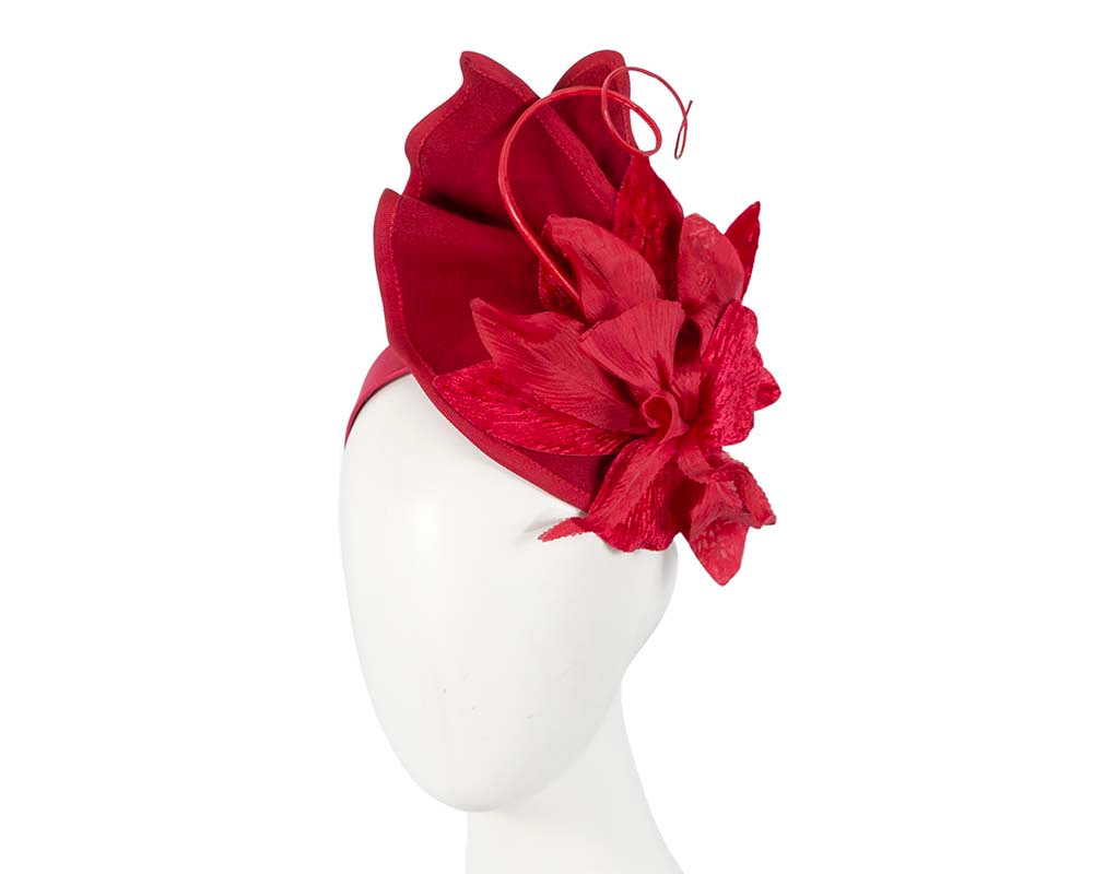 Red autumn winter felt fascinator by Fillies Collection