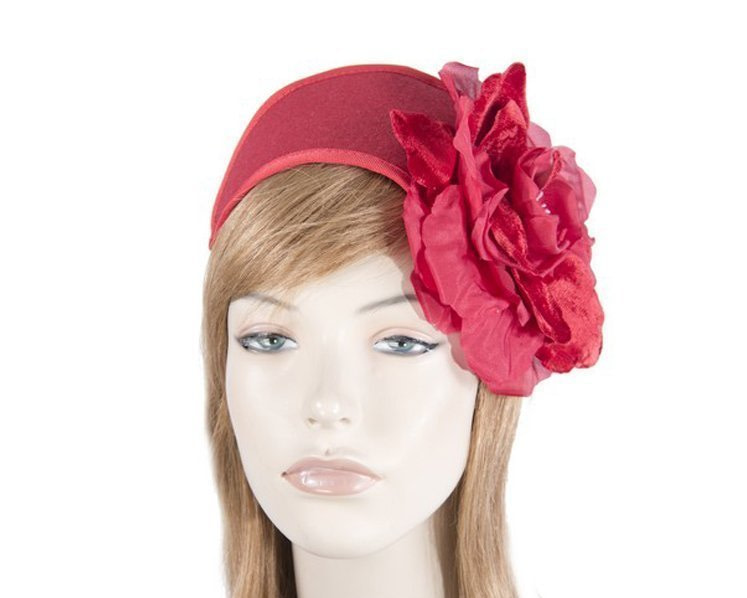 Red winter headband with flower