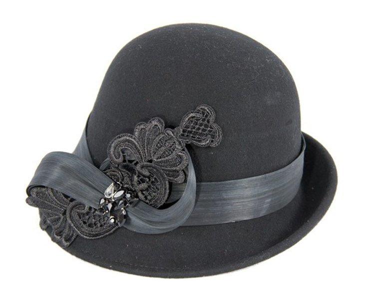 Black cloche hat with lace trim