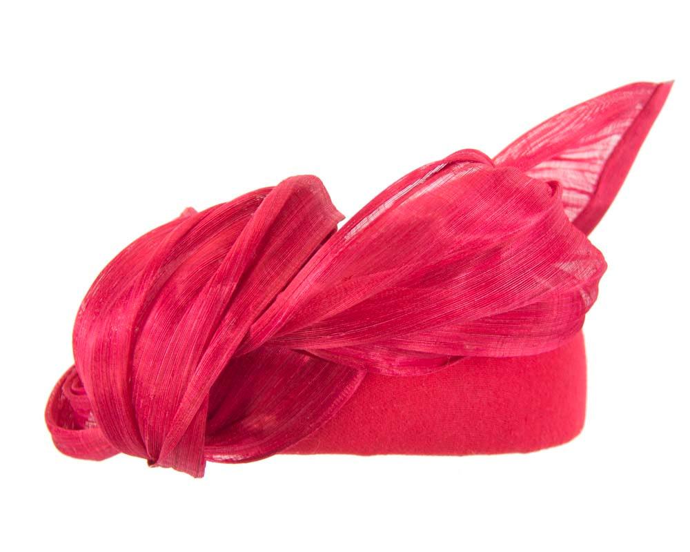 Red winter pillbox with silk abaca trim