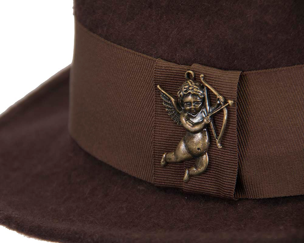 Chocolate mohair rabbit fur unisex fedora hat