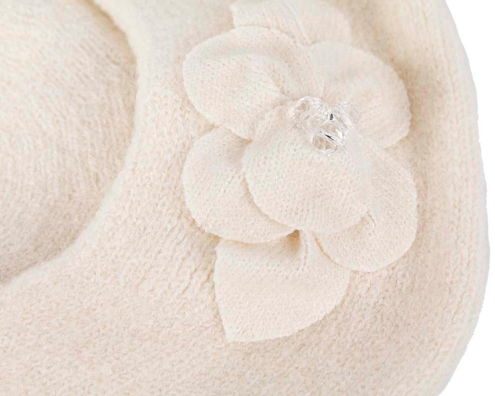 European made woven cream beret