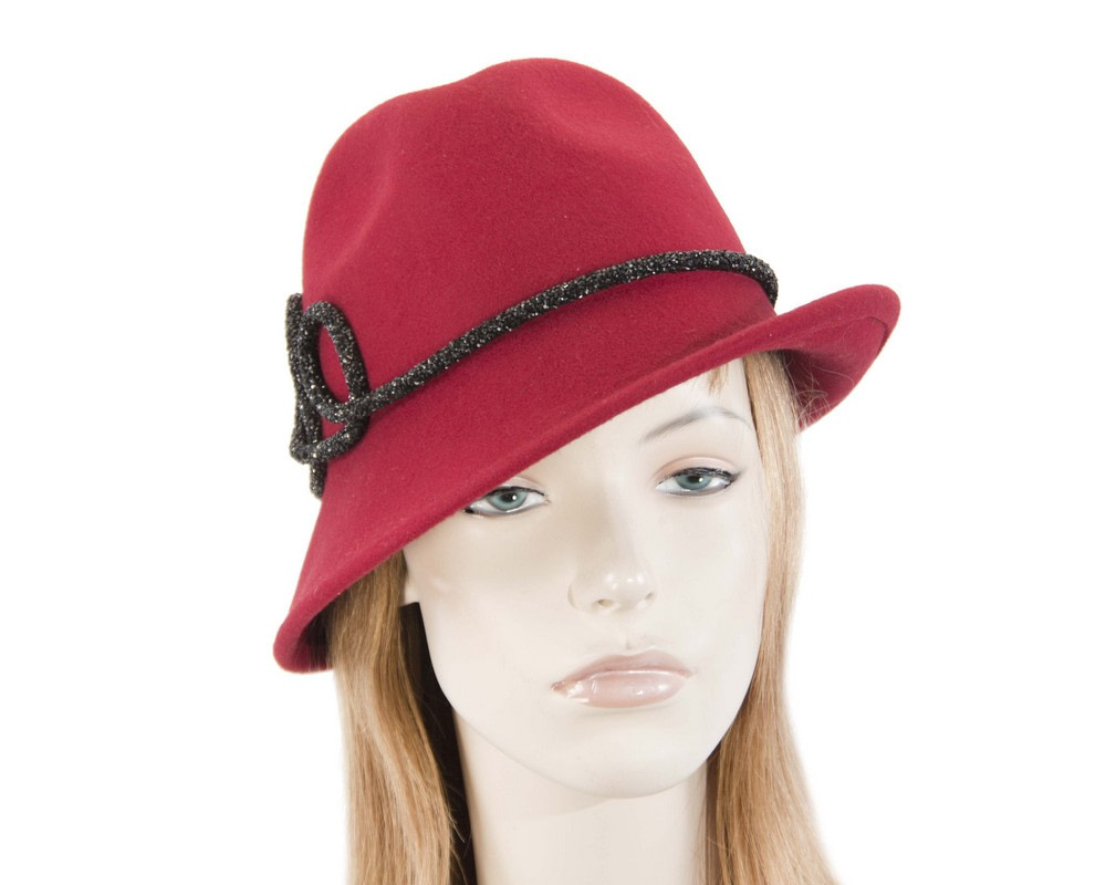 Designers red felt ladies fedora hat