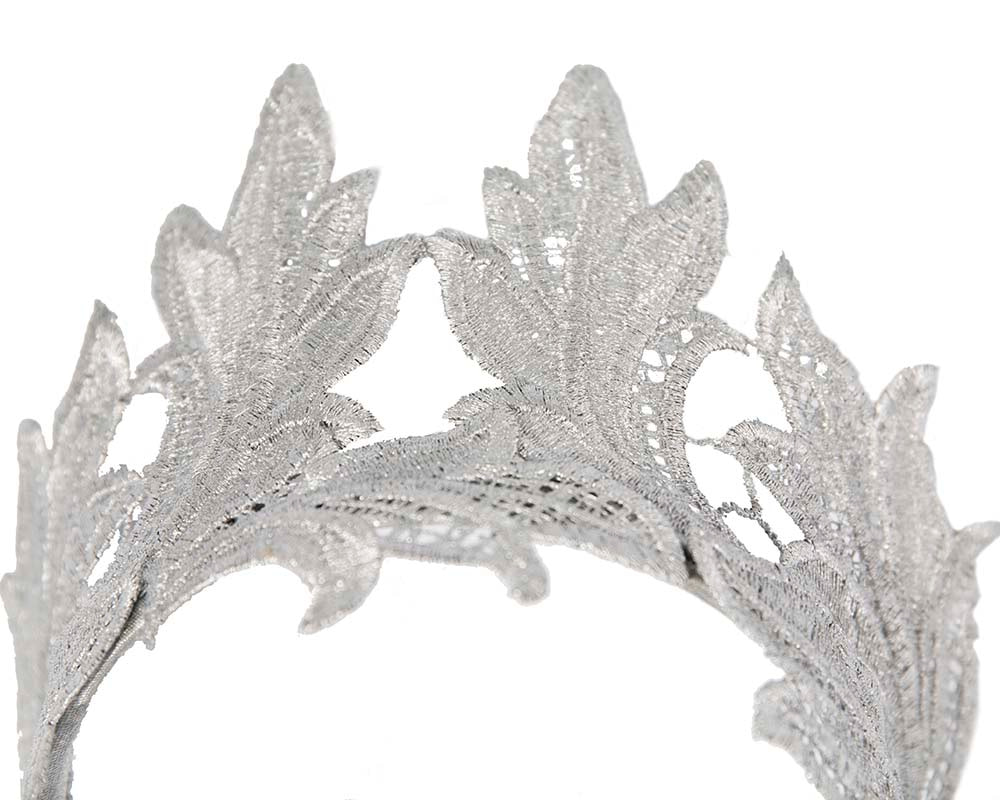 Silver lace crown fascinator headband by Max Alexander
