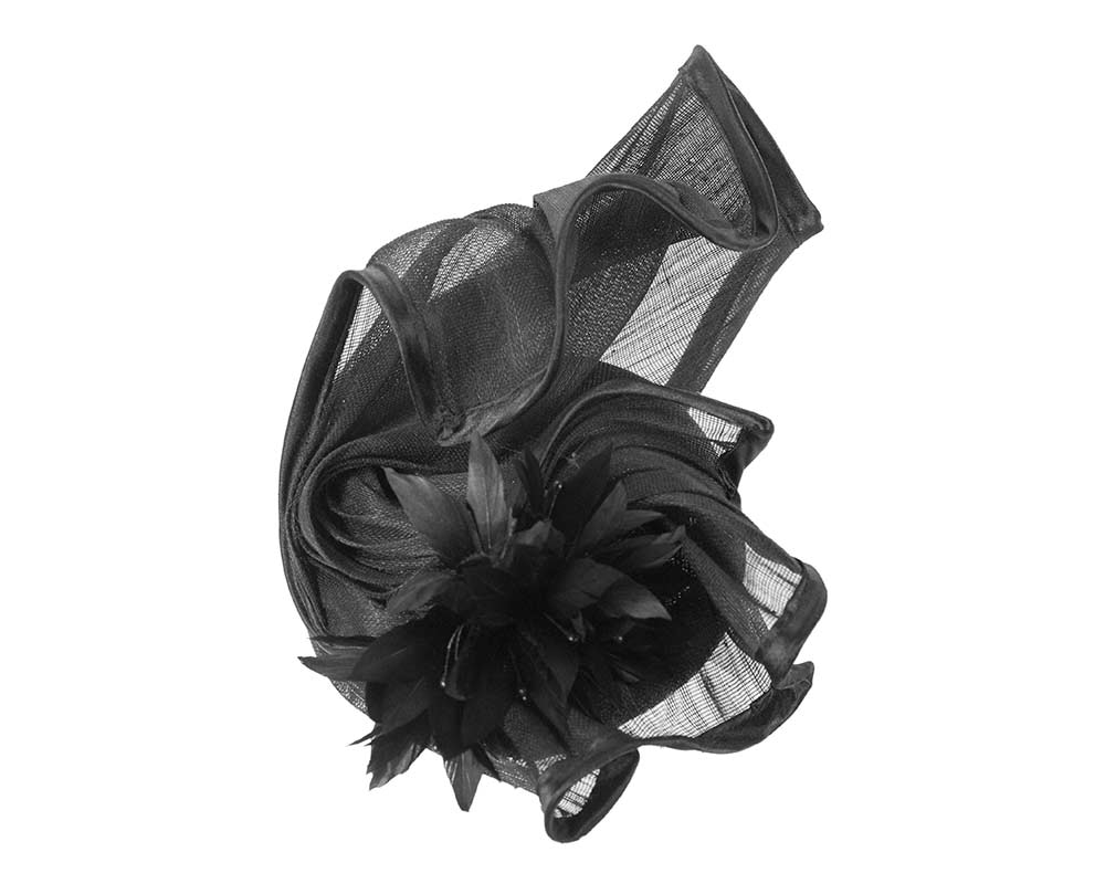 Sculptured black racing fascinator with feather flowers by Fillies Collection