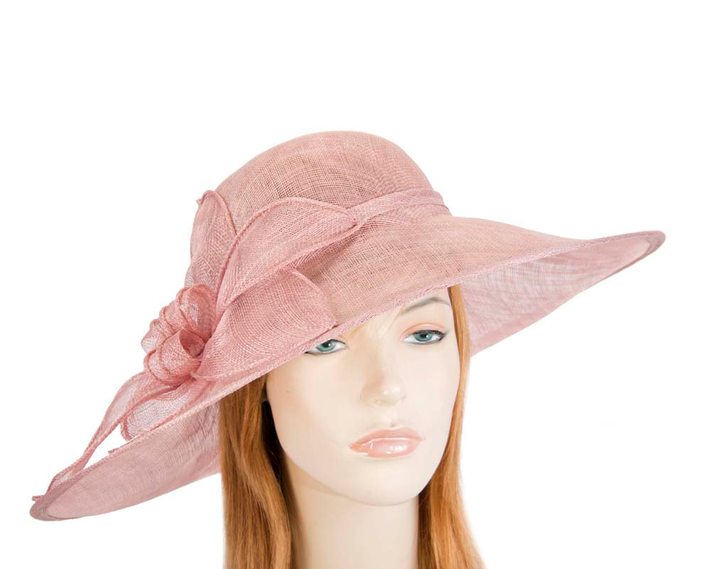 Dusty pink wide brim racing fashion hat by Max Alexander