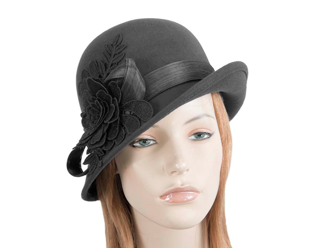 Black felt cloche hat with lace by Fillies Collection