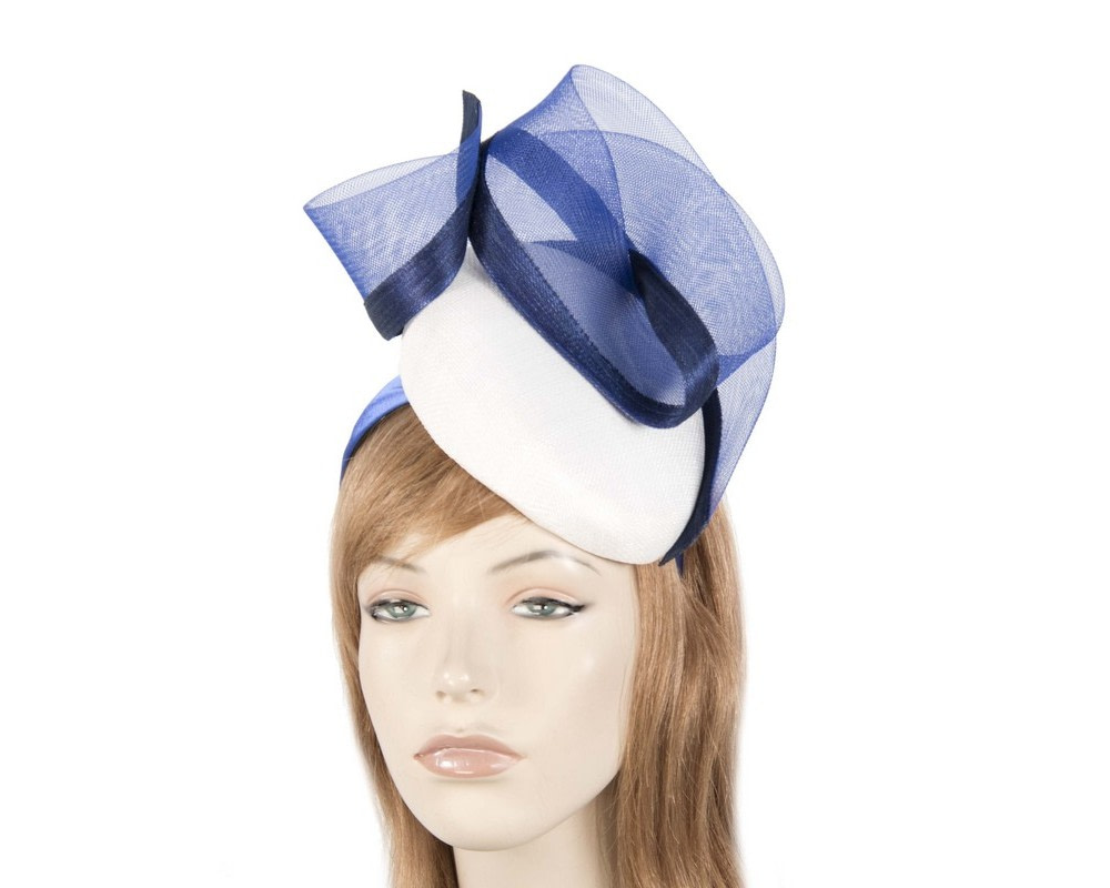 Tall white & blue pillbox fascinator