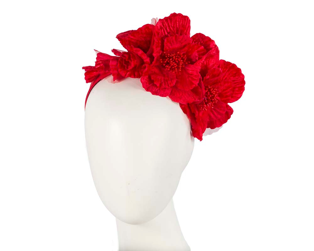 Bright Red Flower Fascinator Headband