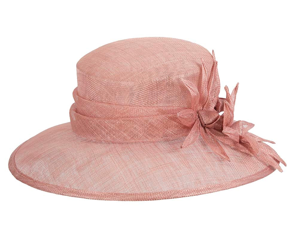 Large dusty pink spring racing hat by Max Alexander