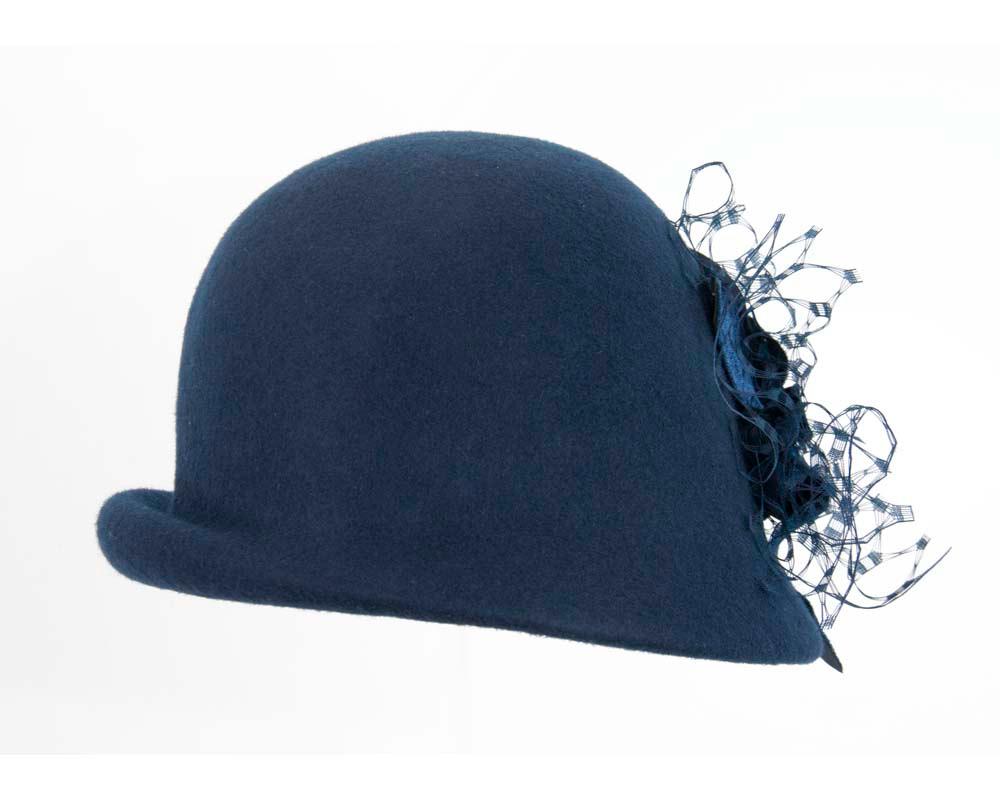 Navy felt bucket hat with flower F589N
