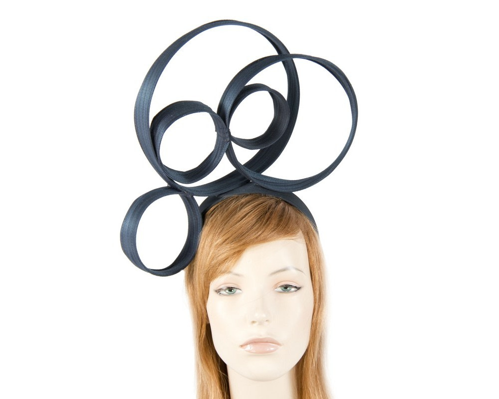 Sculptured navy fascinator