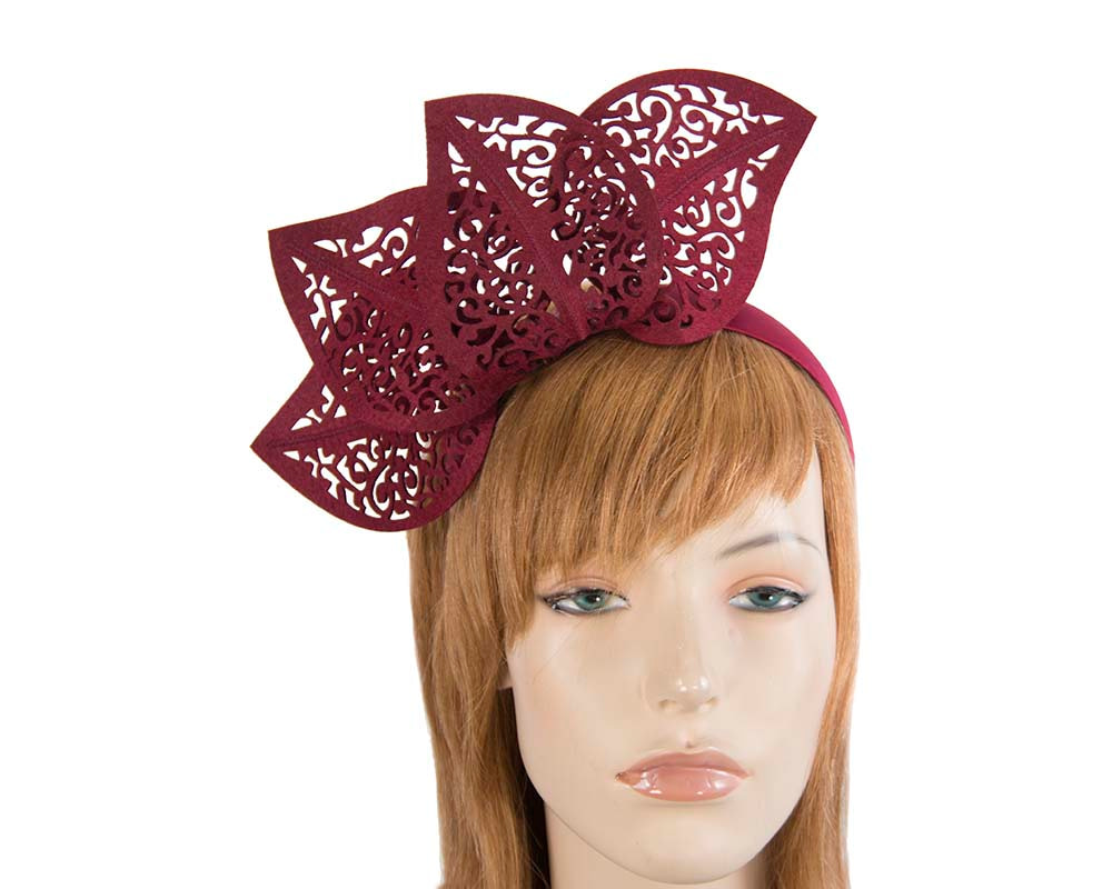 Modern burgundy wine racing fascinator by Max Alexander