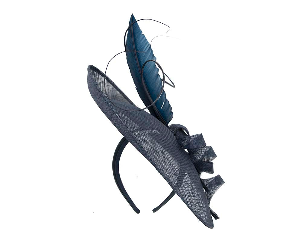 Large navy fascinator by Cupids Millinery