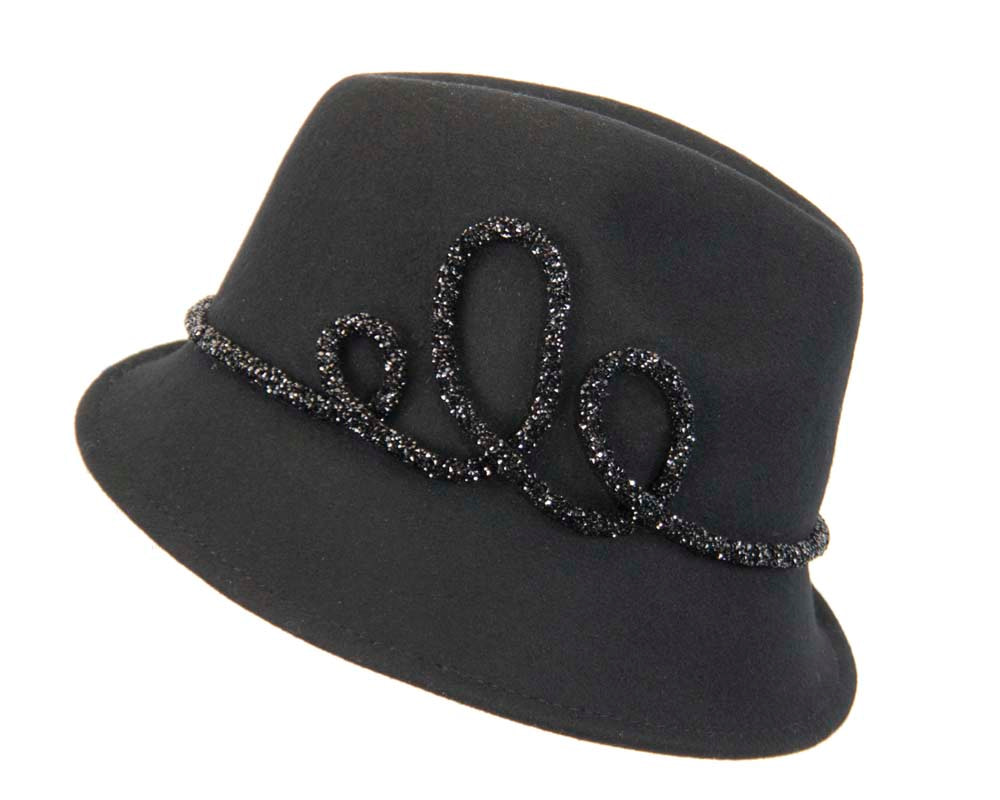 Designers black felt ladies fedora hat