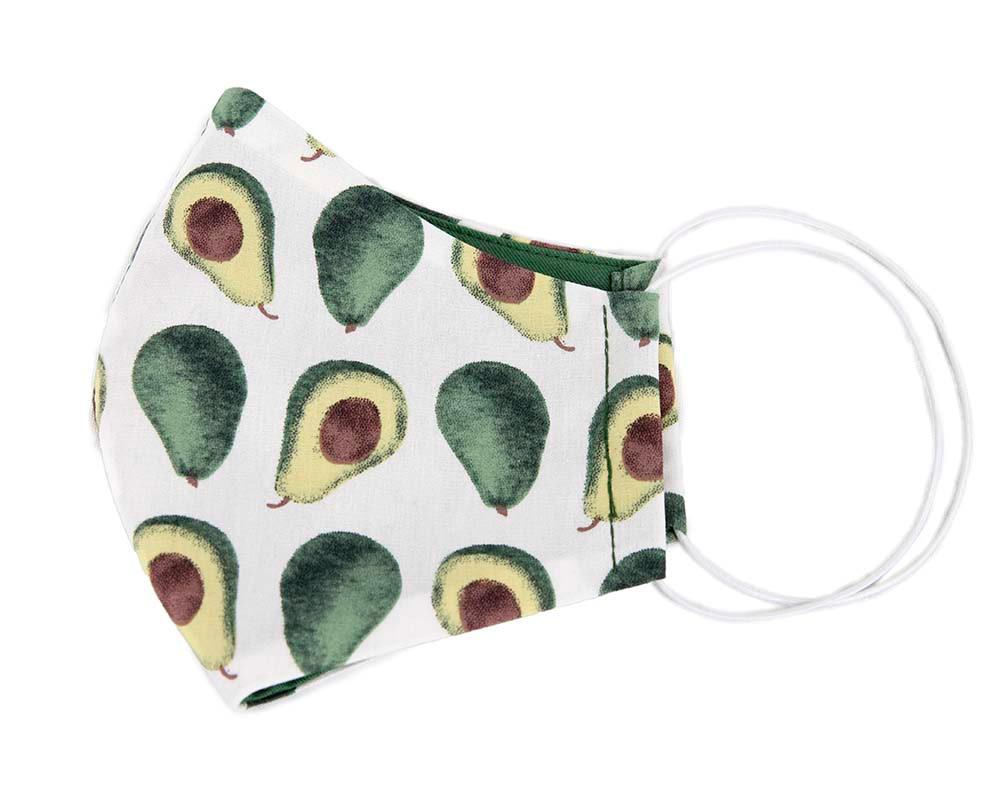 Comfortable re-usable cotton face mask with avocado print