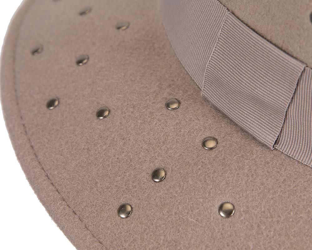 Exclusive wide brim grey fedora felt hat by Max Alexander