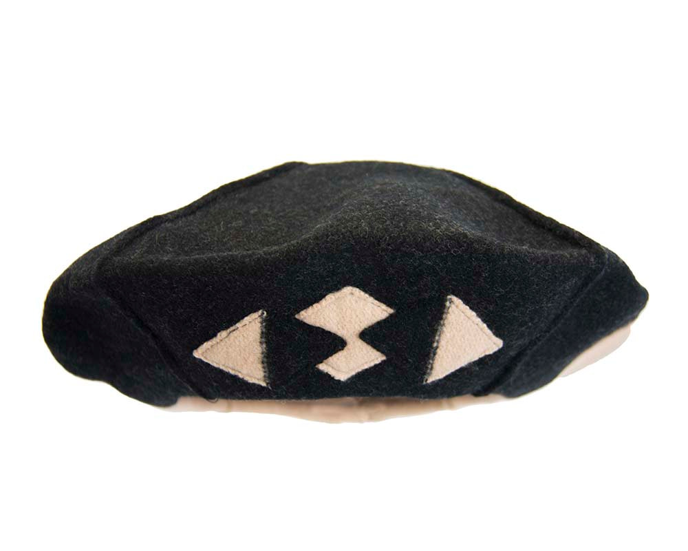 Beige & black winter french beret by Max Alexander