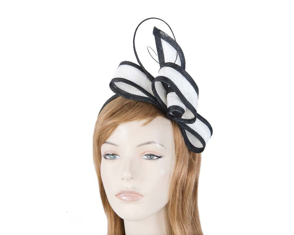White & Black bow Max Alexander fascinator for Melbourne Cup Derby races buy online in Aus MA620WB