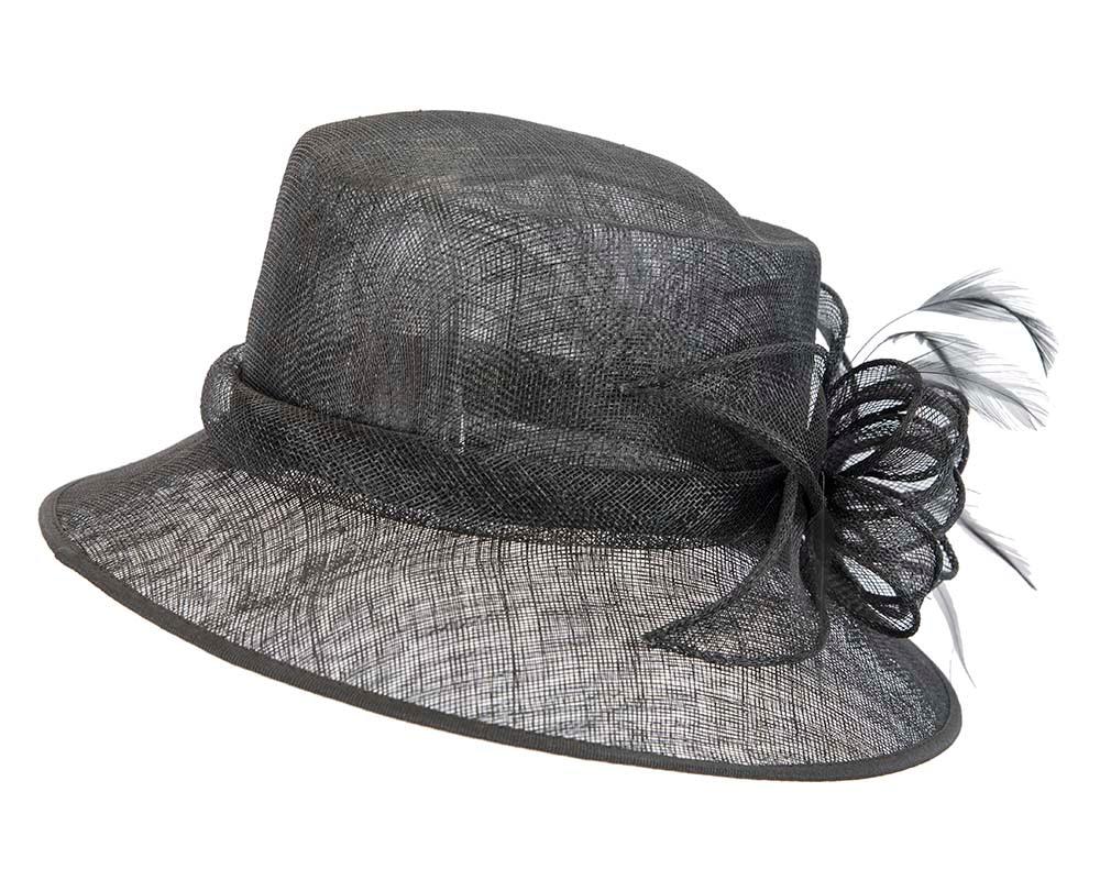 Black Bucket sinamay hat by Cupids Millinery