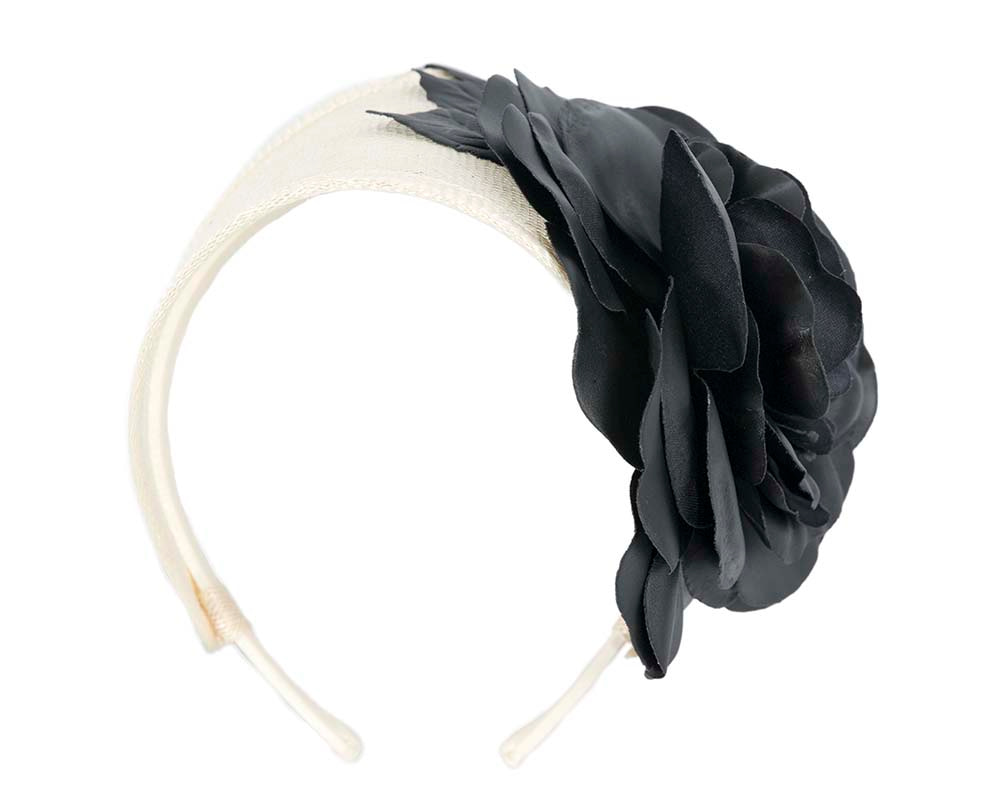 Wide cream and black leather rose headband fascinator by Max Alexander