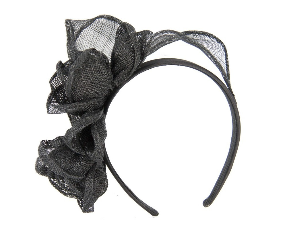 Black sinamay flower crown