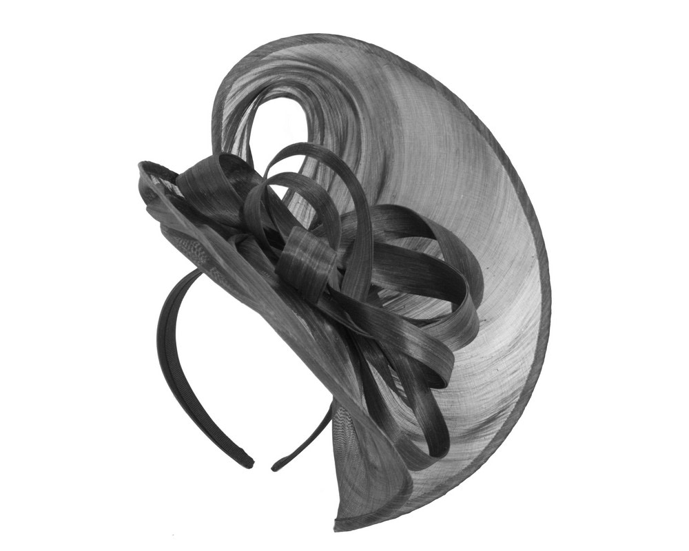 Large black silk abaca heart fascinator